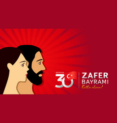 30 agustos zafer bayrami 2021 man women banner vector