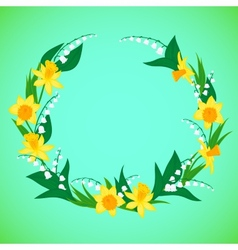 a wreath with flowers vector image