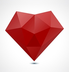 Abstract red polygonal geometric heart vector
