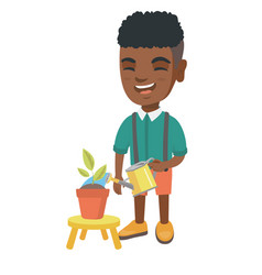 african boy watering plant with a watering can vector image