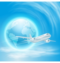 airplane in the sky with the globe vector image