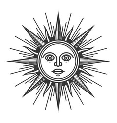 antique sun face icon on white background vector image