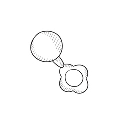 Baby rattle sketch icon vector image