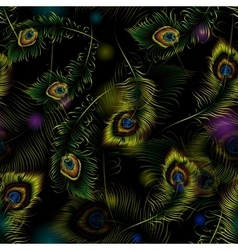 Beautiful peacock feathers seamless pattern vector image