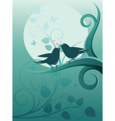 birds in the garden vector image