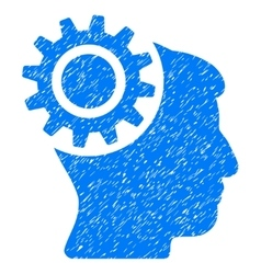 Brain Gear Grainy Texture Icon vector