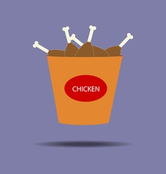Bucket of chicken legs icon vector