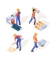 builders isometric construction workers in helmet vector image