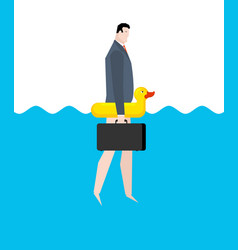 businessman and inflatable duck manager on vector image