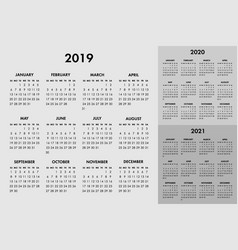 Calendar for 2019 2020 2021 year week vector