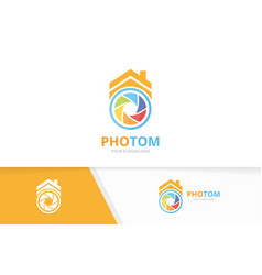 Camera shutter and real estate logo vector