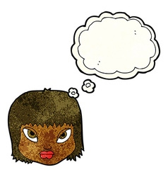 Cartoon annoyed face with thought bubble vector