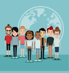 Cartoon diversity group people world languages vector
