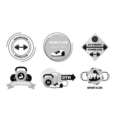 cartoon silhouette black fitness badges or labels vector image vector image