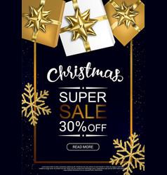christmas sale poster with shiny snowflake gift vector image