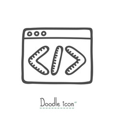 coding doodle icon vector image
