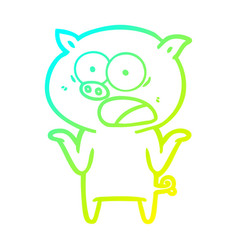 Cold gradient line drawing cartoon pig shouting vector