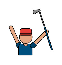 color image cartoon faceless half body golfer man vector image