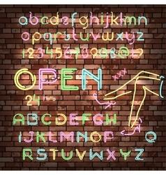 Color neon font set vector