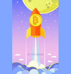 concept crypto-currency rocket flying to the vector image