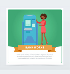 consultant manager woman standing next to atm vector image