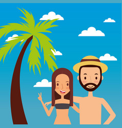 couple travelers vacations concept vector image