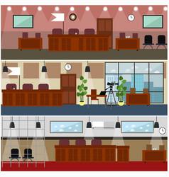courtroom interior concept flat poster set vector image