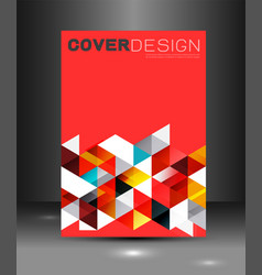 cover template with triangle geometry overlapping vector image