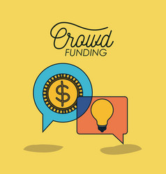crowdfunding poster with coin and light bulb in vector image