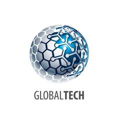 digital sphere global link technology logo vector image