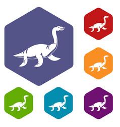 Elasmosaurine dinosaur icons set hexagon vector
