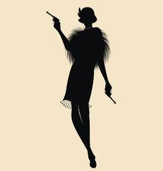 Elegant silhouette a flapper girl in 20s 30s vector