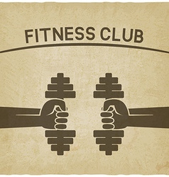 fitness club symbol hands with dumbbells old vector image vector image