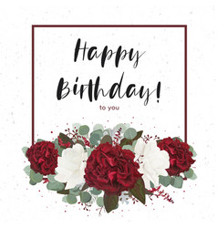 Floral happy birthday greeting gift card design vector