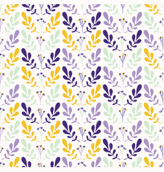 foliage leaf stem pattern yellow and purple vector image