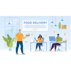 food set meals delivery to office service webpage vector image