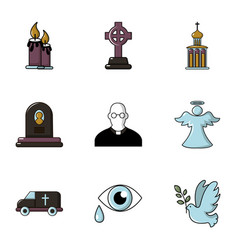 funeral icons set flat style vector image