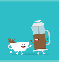 funny cup of coffee and coffee pot vector image
