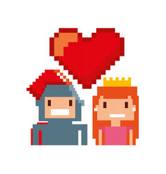 game warrior and princess pixelated icon vector image