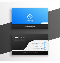 geometric business card design in blue and black vector image