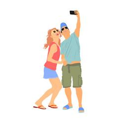 girlfriend and boyfriend couple in love selfie vector image