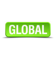 global green 3d realistic square isolated button vector image
