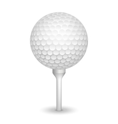 Golf realistic ball on a tee vector image