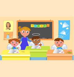 good pupils and teacher in school classroom vector image