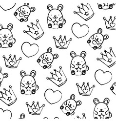 Grunge metal crown with heart and mice background vector