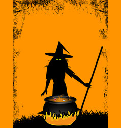 Halloween background with witch and cauldron vector