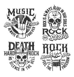 Hard rock skull t-shirt prints rock music concert vector