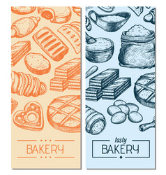 Homemade bakery product vintage flyers vector