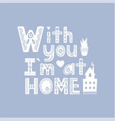 hygge background with hand drawn cozy home vector image