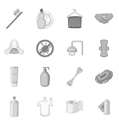 Hygiene icons set monochrome vector